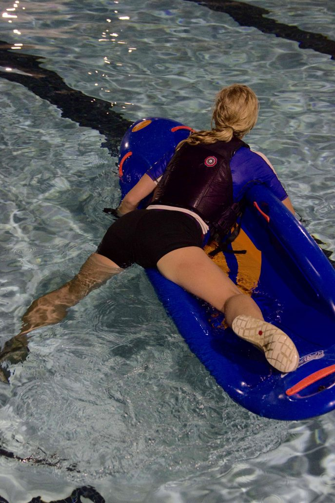Bring one leg onto the bellyak and swing the other in place