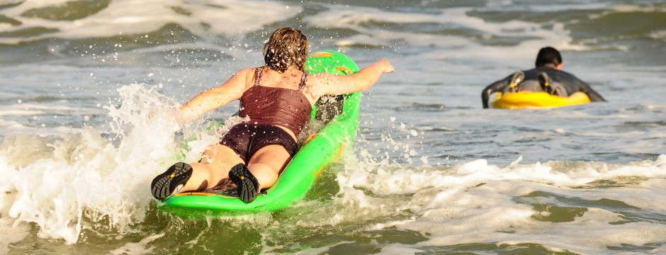 Paddling out through the waves is almost as fun as surfing back in