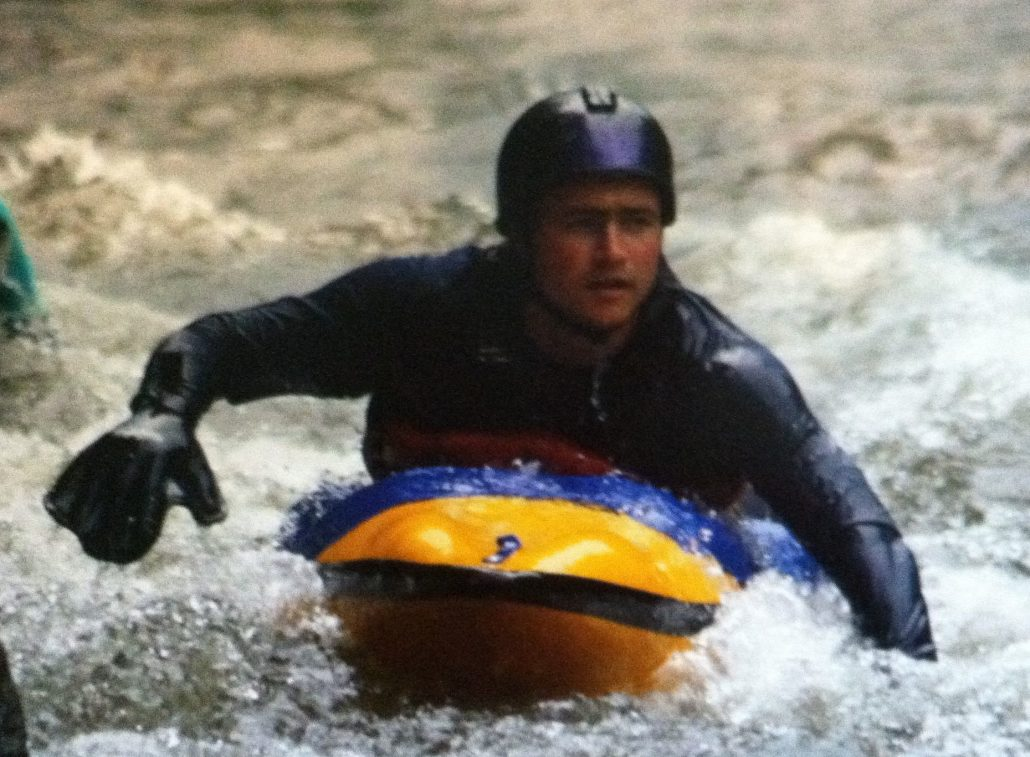 Old school Adam Masters on a bellyak prototype