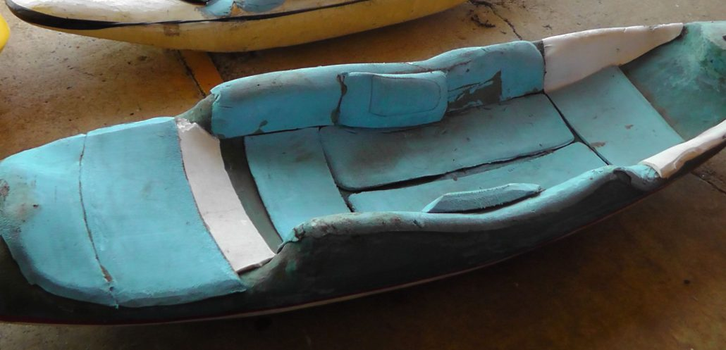 Bellyak outfitted with scraps and ready to paddle!