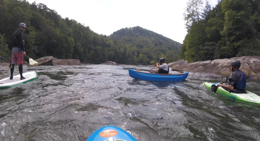 A SUP, Canoe, Kayak and bellyak on the Upper Gauley