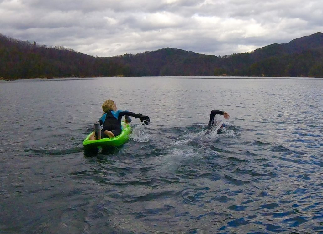 Bellyaking in open water