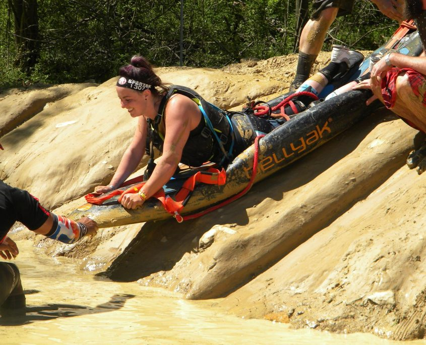 Using the bellyak for a mud obstacle