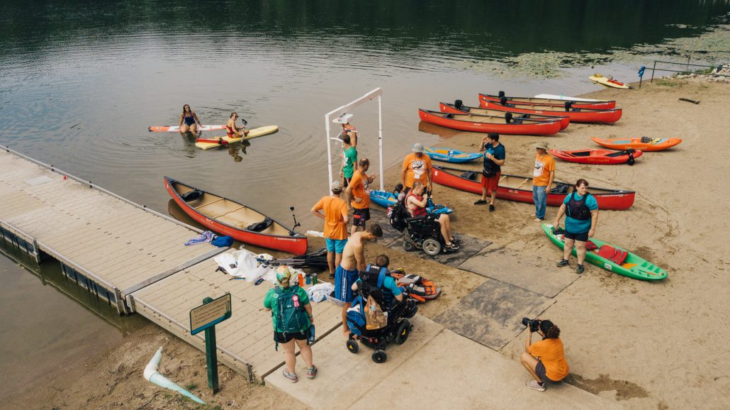 Campers getting ready to paddle at Camp PossAbility